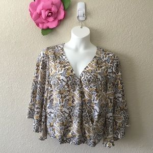 Sanctuary Floral & Paisley Print Bell Sleeve Top